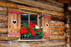 Typical bavarian or austrian wooden window with red geranium flowers on house in Austria or Germany Stock Images