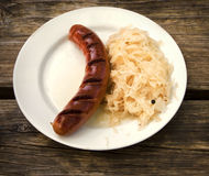 Typical Bavarian dish: grilled sausage with stuffed cabbages Stock Images