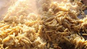 Typical Bavarian golden potato dumplings with with sauerkraut stock footage