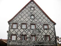 Typical Bavarian house, Furth, Germany. Typical Bavarian house with tile decoration  in old town of Furth, Germany, close view Royalty Free Stock Photography