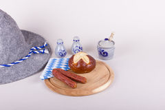 Typical Bavarian snack with sausages and bread Royalty Free Stock Images