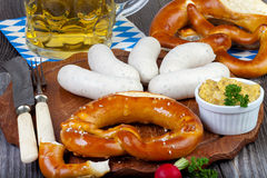 Typical Bavarian veal sausage snack Stock Images