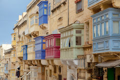 Typical bay windows of historic Valletta Stock Image