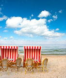 Typical beach cafe on the Baltic Sea. Lanscape with cloudy blue sky Stock Image