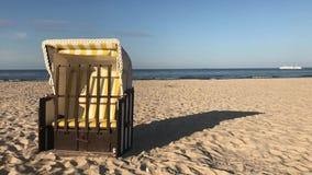 Typical beach chair on the beach in Ahlbeck.