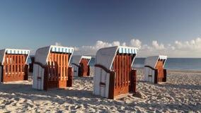 Typical beach chairs in Binz. Morning on the beach in Binz, Ruegen Island, Germany stock footage