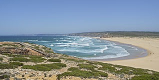 A typical beach at the West coast of Portugal. The beach Bordeira at the West coast of Portugal Royalty Free Stock Image