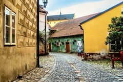Typical beautiful cobblestone street in the old town of Cesky Krumlov, Czech Republic