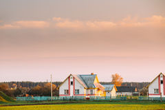 Typical Belarusian Or Russian Brick House In Village Or Countryside Royalty Free Stock Image