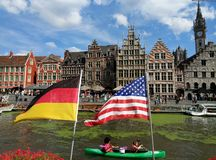 Typical Belgian houses over the water in Ghent royalty free stock photography