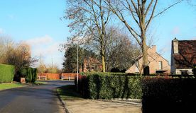 Typical Belgian suburban neighborhood. A tree-lined modern residential street on a cul-de-sac in a typical upscale neighborhood in Belgium with houses in Flemish Stock Photos