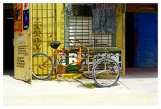 Typical Belizean bicycle. royalty free stock photos