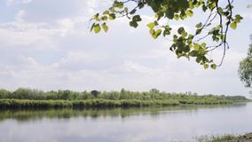 Typical belorussian landscape. Typical belorussian nature in spring. Wooden boat on foreground stock video footage