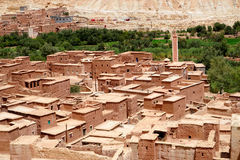 Typical berber village of the atlas mountains in Morocco. Morocco Atlas mountains. Village with red earth Just one hundred kilometers from the exotic Marrakesh Royalty Free Stock Images