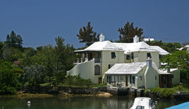A typical Bermuda Cottage. A Bermuda cottage, overlooking the Ocean Stock Photo