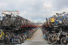 Typical bicycle parking in Amsterdam, Netherlands Stock Photography