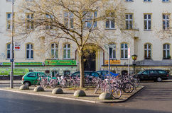 Typical european bike parking in Berlin, Tiergarte Stock Photography