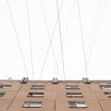Typical block of flats conected with multiple wires Stock Images