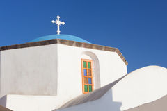 Typical blue cupola of a church in Santorini. Island, Greece Royalty Free Stock Images