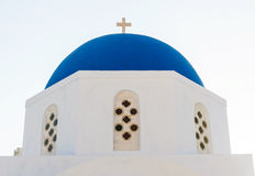 Typical blue cupola of a church in Santorini Stock Images