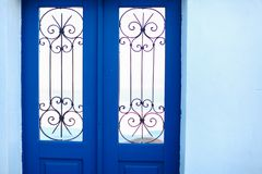Typical blue door with stairs. Santorini island Royalty Free Stock Photography