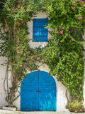 Typical blue door surrounded with green plants in the Sidi Bou Said city, Tunisia. Royalty Free Stock Photos