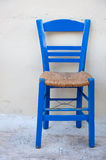 Typical blue Greek chair Royalty Free Stock Images