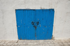 Typical blue local door, Tunis, Tunisia Stock Images