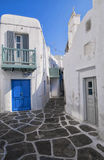 Typical blue white houses at mykonos , cyclades , Greece Royalty Free Stock Photography