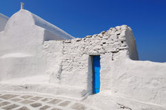 Typical blue white houses at mykonos , cyclades , Greece Royalty Free Stock Photo