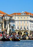Typical boats in Aveiro stock images
