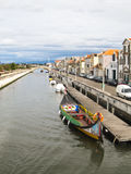 Typical boats in the canals of Aveiro, Portugal Royalty Free Stock Images