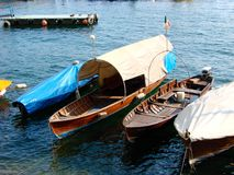 Typical boats on the lake Stock Images