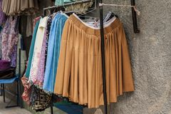 Typical bolivian skirts and local dresses, Copacabana - Bolivia royalty free stock photos