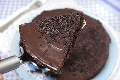 Typical brazilian cake. Typical brazilian chocolate cake, called brigadeiro, usually available in portuguese cuisine as well Stock Photo