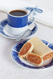 Typical Brazilian dessert bolo de rolo (swiss roll, roll cake) c Stock Photo