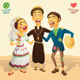 Typical brazilian June Party wedding. Made in Brazil - Made with love - High quality detailed vector cartoon for june party themes Royalty Free Stock Images
