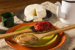 Typical Brazilian specialty: guava paste with white cheese, loca Stock Photography