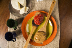 Typical Brazilian specialty: guava paste with white cheese, loca Stock Images