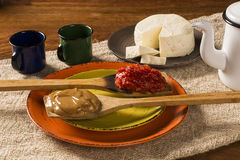 Typical Brazilian specialty: guava paste with white cheese, loca Royalty Free Stock Photography