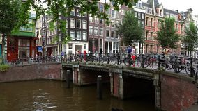Typical bridge in Amsterdam with lots of bicycles  City of Amsterdam. Typical bridge in Amsterdam with lots of bicycles  Amsterdam Netherlands videoclip stock footage