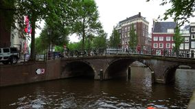 Typical bridge in Amsterdams canal area City of Amsterdam. Typical bridge in Amsterdams canal area Amsterdam Netherlands videoclip stock footage