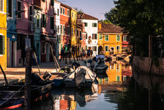 Typical brightly colored houses of Burano, Venice lagoon, Italy. Stock Photo