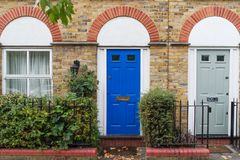 Typical British house facade in London city center, England, UK. Europe Royalty Free Stock Photos