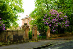 Typical British mansion. Big rhododendron bush near the gates Royalty Free Stock Photo