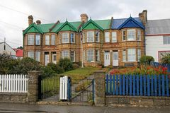 Typical british town houses in Port Stanley, Falkland Islands. Islas Malvinas Stock Image