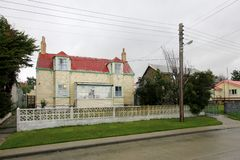 Typical british town houses in Port Stanley, Falkland Islands. Islas Malvinas Royalty Free Stock Photos