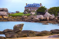 Typical Brittany coast in the north of France Stock Image