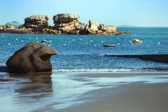 Typical Brittany coast in the north of France Stock Images
