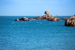 Typical Brittany coast in the north of France Stock Photo
